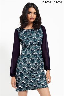 Naf Naf Printed Shift Dress With Colour Block Sleeves