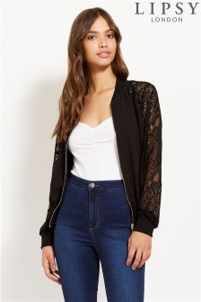 Lipsy Lace Sleeve Bomber Jacket