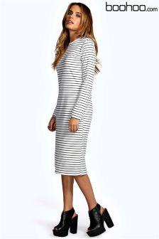 Boohoo Morgan Stripe Midi Collumn Dress