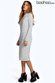 Boohoo Morgan Stripe Midi Collumn Dress