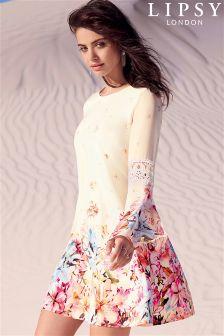 Lipsy Floral Print Bell Sleeve Dress