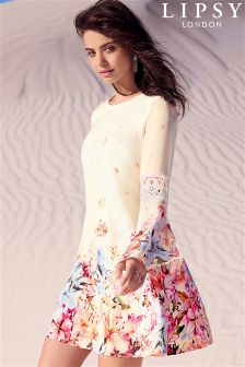 Lipsy Floral Print Bell Sleeve Dress