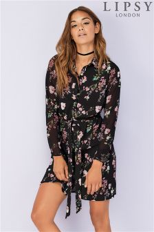 Lipsy Floral Button Down Shirt Dress