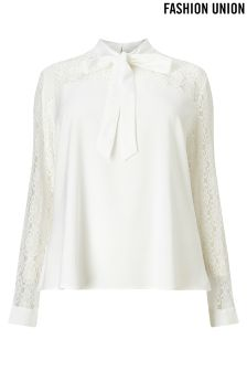 Fashion Union Curve Tie Neck Lace Insert Blouse