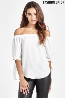 Fashion Union Tie Sleeve Top