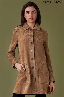 Naf Naf Suede Long Line Coat