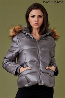 Naf Naf Faux Fur Trim Hooded Puffer Jacket