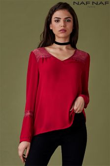 Naf Naf Long Sleeve Lace Blouse