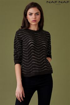 Naf Naf Long Sleeve Textured Jumper