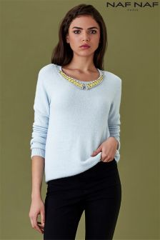 Naf Naf Long Sleeve Jewelled Jumper