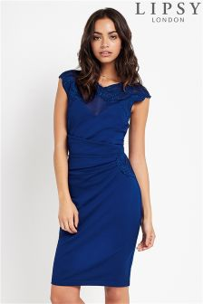 Lipsy Applique Side Ruched Bodycon Dress