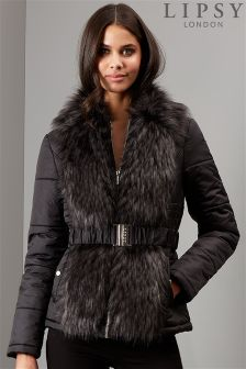 Lipsy Faux Fur Short Puffer Coat