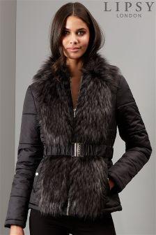 Lipsy Faux Fur Short Puffer Coat