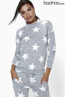 Boohoo Knitted Star Print Loungewear Sweatshirt