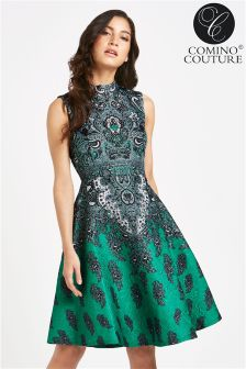 Comino Couture Beaded Vintage Stand Collar Retro Jacquard Dress