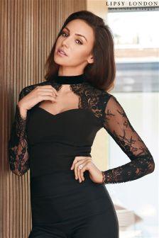 Lipsy Love Michelle Keegan Velvet Choker With Lace Body