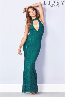 Lipsy All Over Sequin Split Front Choker Maxi Dress