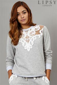 Lipsy Lace Yoke Sweatshirt