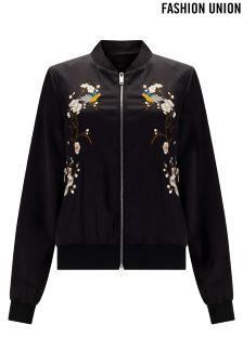 Fashion Union Embroidered Bomber Jacket