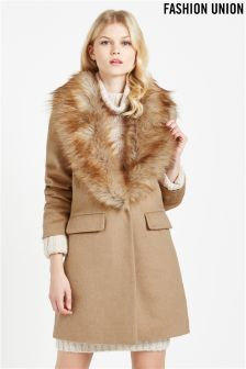 Fashion Union Fur Collar Coat