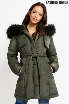 Fashion Union Padded Fur Trim Coat