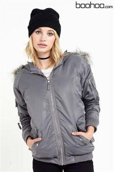 Boohoo Faux Fur Hooded Bomber