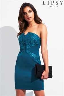 Lipsy Sequin Bandeau Bodycon Dress