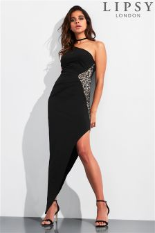 Lipsy One Shoulder Asymmetric Sequin Detail Maxi Dress
