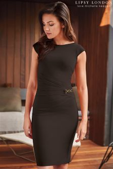 Lipsy Love Michelle Keegan Black Ruched Side Chain Dress