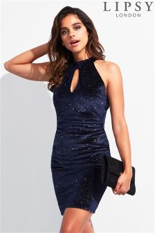 Lipsy Crushed Velvet High Neck Bodycon