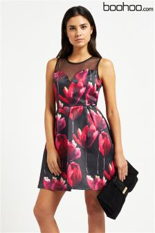 Boohoo Floral Print Mesh Yoke Prom Dress