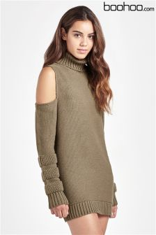 Boohoo Cold Shoulder Roll Neck Longline Sweater