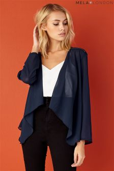 Mela Loves London Chiffon Zip Waterfall Jacket