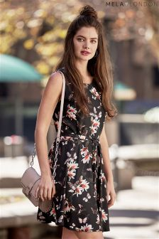 Mela Loves London Floral Butterfly Print Skater Dress