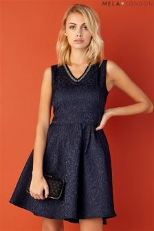 Mela Loves London Beaded Neckline Lace Skater Dress