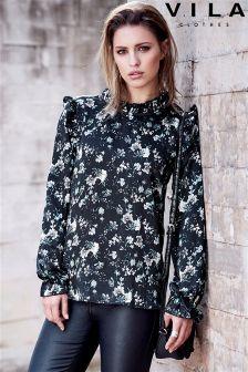 Vila Floral Print Long Sleeve Ruffle Blouse