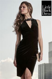 Little Black Dress Velvet Wrap Front Embellished Choker Dress