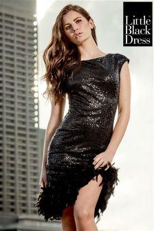Little Black Dress Feather Hem Sequin Mini Dress