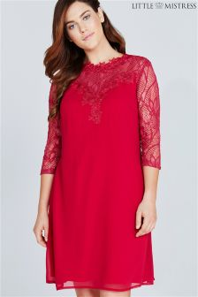Little Mistress Curve Sheer Lace Tunic Dress