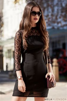 Mela Loves London Lace Sleeve Shift Dress