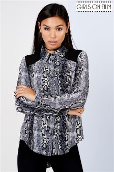 Girls On Film Snake Print Panel Shirt