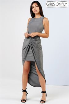 Girls On Film Grey Knot Front Bodycon Dress