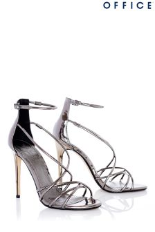 Office Metallic Mirror Strappy Sandals