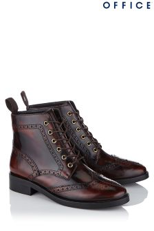 Office Brogue Lace Up Leather Boot
