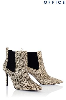 Office Pointed Leopard Chelsea Boots