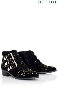Office Three Strap Studded Boots