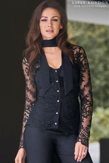 Lipsy Love Michelle Keegan Lace Tie Neck Blouse