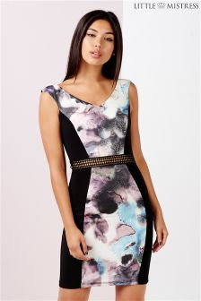 Little Mistress Oil Chiffon Print Bodycon