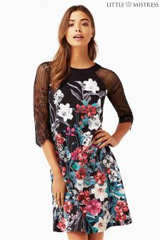 Little Mistress Bouquet Print Mini Shift Dress