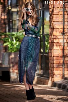 First And I Sheer Iridescent Maxi Dress